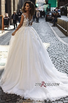 Overskirt Stunning V-Neck Appliques A-Line Lace Long Sleeveless Wedding Dresses BC1129_2