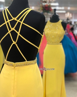 Jewel Yellow Slit Attractive Lace-up Evening Dresses_1