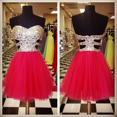 Glamorous Sweetheart Sleeveless Tulle Short Cocktail Dress With Crystals CJ0375_2