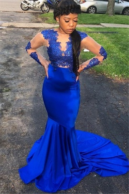 Royal Blue Long-Sleeves Mermaid Prom Gown | Appliques Sheer Tulle Evening Gown_2