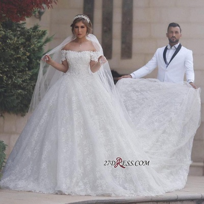 White Ball-Gown Appliques Lace-Up-Back Off-Shoulder Sweetheart Arabic Wedding Dress BA6842_2