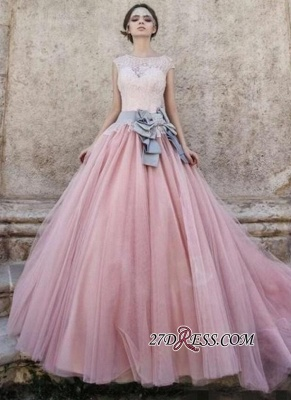 Ball-Gown Lace Bowknot Pink Capped-Sleeves Wedding Dress_3