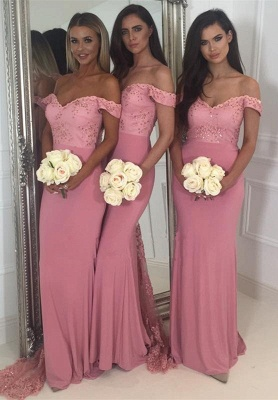 Off-the-Shoulder Pink Bridesmaid Dress | 2020 Mermaid Long Lace Bridesmaid Dresses_1