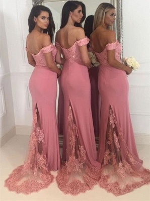Off-the-Shoulder Pink Bridesmaid Dress | 2020 Mermaid Long Lace Bridesmaid Dresses_4