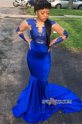 Royal Blue Long-Sleeves Mermaid Prom Gown | Appliques Sheer Tulle Evening Gown_1