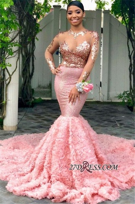Pink Floral Mermaid Long-Sleeves Sequins Sexy Prom Dresses BC1052 bk0_2