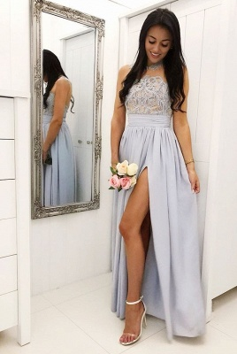 Glamorous A Line Sleeveless 2020 Bridesmaid Dresses | Front Split Lace Appliques Maid Of Hornor Dress BC1242_2