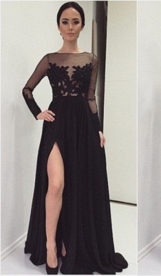 Sexy Lace Appliques Black 2020 Prom Dress Front Split Long Sleeve Illusion Sweep Train_2