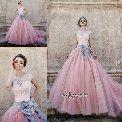 Ball-Gown Lace Bowknot Pink Capped-Sleeves Wedding Dress_2