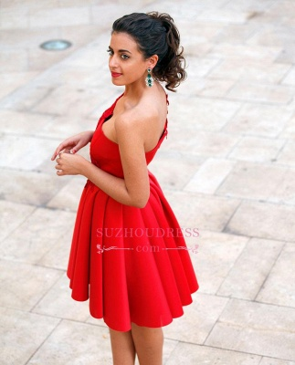 Red Appliques One-Shoulder Short Popular A-Line Homecoming Dress_1