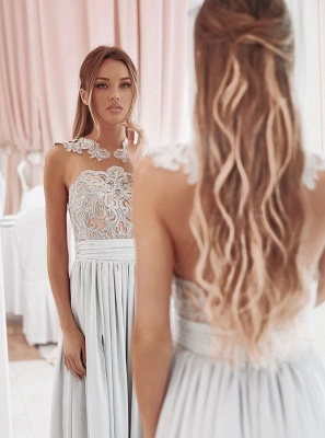 Glamorous A Line Sleeveless 2020 Bridesmaid Dresses | Front Split Lace Appliques Maid Of Hornor Dress BC1242_3