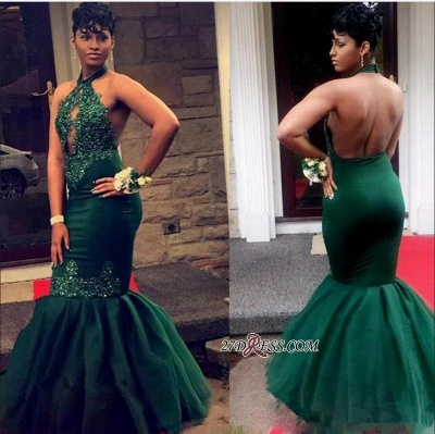 Green High-Neck Lace Appliques Prom Dresses | 2020 Mermaid Long Evening Gowns BK0 BC1360_2