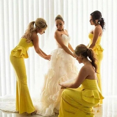 Peplum Ruffles Mermaid Bright-Yellow Long Bridesmaid Dresses_3