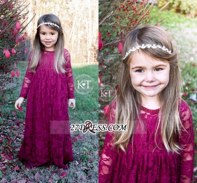 Fuchsia Long Lace Cute Sleeves Flower Girl Dresses_1
