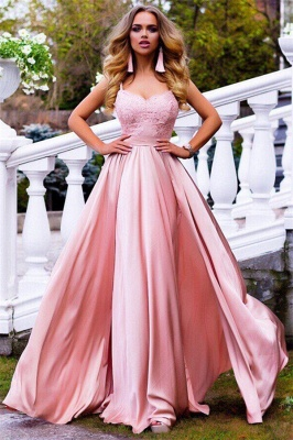 Spaghetti Straps Pink Formal Evening Dress Sexy Sleeveless 2020 Ball Dresses