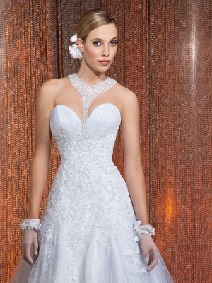 Gorgeous Scoop Lace Appliques A-Line Wedding Dress 2020 With Train_4