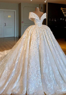 Glamorous Off-the-Shoulder Lace Wedding Dresses | 2020 Princess Bridal Gowns_1