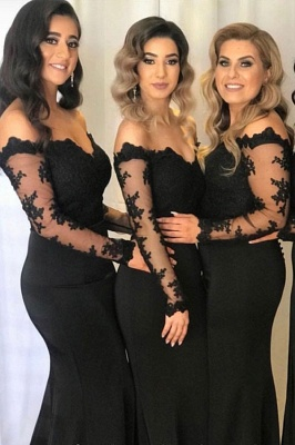 Black Applique Mermaid Long-sleeve Off-the-shoulder Prom Dresses