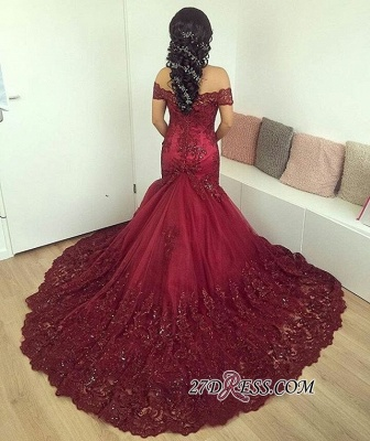Lace Burgundy Glamorous Appliques Mermaid Off-the-Shoulder Evening Dress_4
