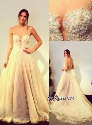 Zipper Beads Appliques Lace Tulle Sleeveless Gorgeous Wedding Dress_2