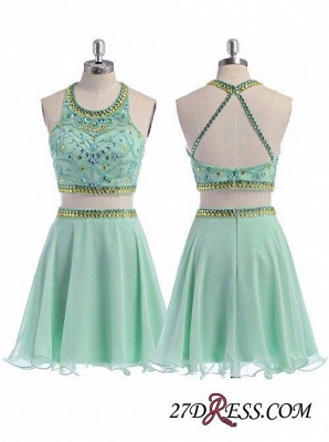 Beading Coral Two-Piece Crystals Mini Lovely Halter Organza Homecoming Dress_3
