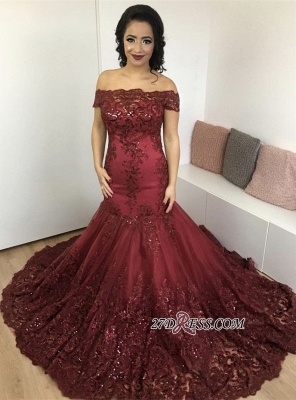 Lace Burgundy Glamorous Appliques Mermaid Off-the-Shoulder Evening Dress_3