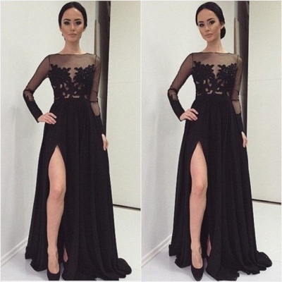 Sexy Lace Appliques Black 2020 Prom Dress Front Split Long Sleeve Illusion Sweep Train_3