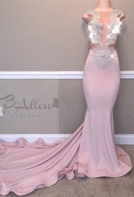 Glamorous Pink Evening Gown   2020 Beadings Mermaid Long Prom Dresses_1