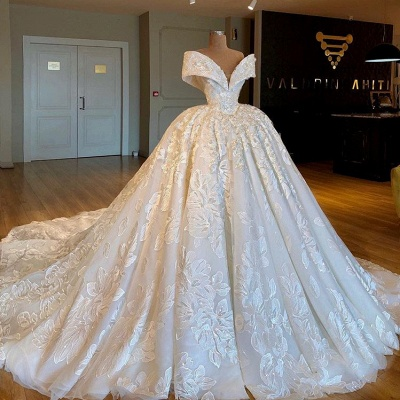 Glamorous Off-the-Shoulder Lace Wedding Dresses | 2020 Princess Bridal Gowns_2