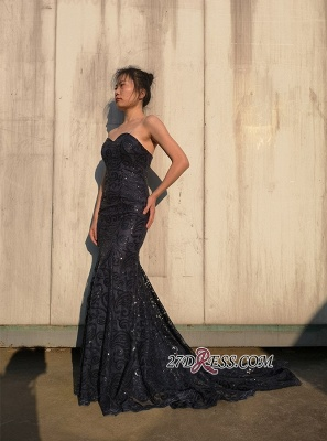 Elegant Sequins Mermaid Prom Dresses | Sweetheart Applique Evening Gowns_1