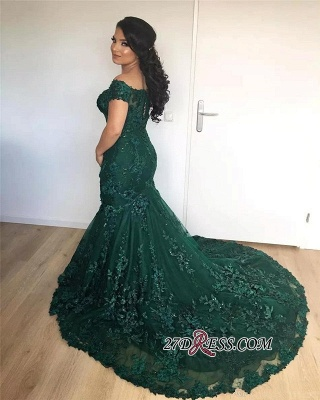 Lace Burgundy Glamorous Appliques Mermaid Off-the-Shoulder Evening Dress_2