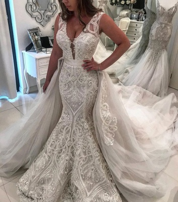 Gorgeous Sleeveless Lace Wedding Dresses | 2020 Overskirt Mermaid Bridal Gowns BC1994_2