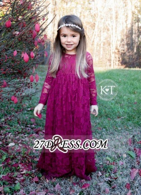 Fuchsia Long Lace Cute Sleeves Flower Girl Dresses_3