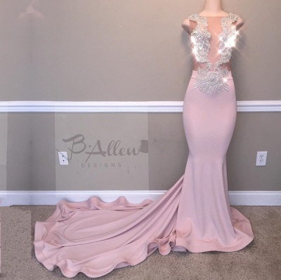 Glamorous Pink Evening Gown   2020 Beadings Mermaid Long Prom Dresses_2
