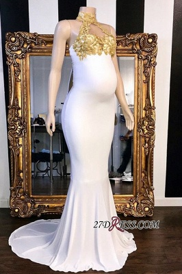 Sleeveless High-Neck Sweep-Train Brilliant Mermaid Appliques Evening Dresses_2