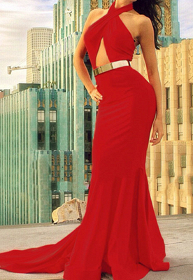 Sexy Red Halter Mermaid Prom Dresses Sweep Train Evening Dresses_1