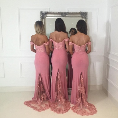Off-the-Shoulder Pink Bridesmaid Dress | 2020 Mermaid Long Lace Bridesmaid Dresses_3