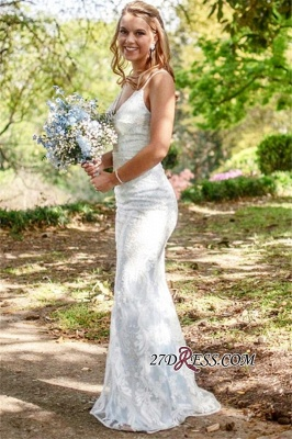 Spaghetti-Straps Mermaid Amazing V-neck Wedding Dresses_3