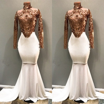 2020 Luxurious High Neck Long Sleeves Mermaid Prom Gown | Appliques Beadings Evening Dress On Sale_3