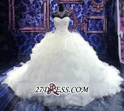 Ball-Gown White Long-Train Beading Lace-up Sweetheart Ruffles Gorgeous Wedding Dress_3