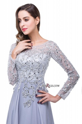 2020 Appliques Long-Sleeves Newest Beadings A-Line Prom Dress_3