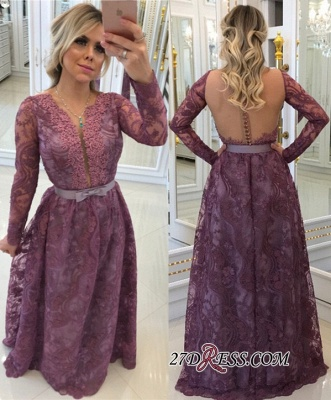 Glamorous Long-Sleeves Lace Buttons A-Line Evening Dresses_2