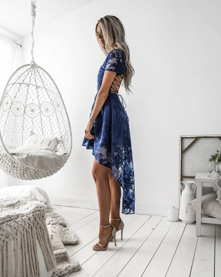 Elegant Short Sleeve Lace Homecoming Dress 2020 Hi-Lo Party Gowns_4