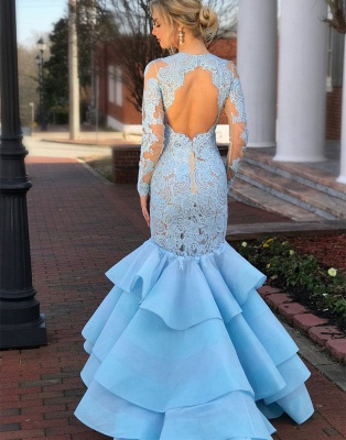 Gorgeous Long Sleeve Lace Evening Gown | 2020 Mermaid Ruffles Lace Prom Dress_2