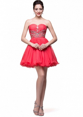 Lovely Watermelon Sweetheart Homeocming Dress 2020 Short With Crystals_2