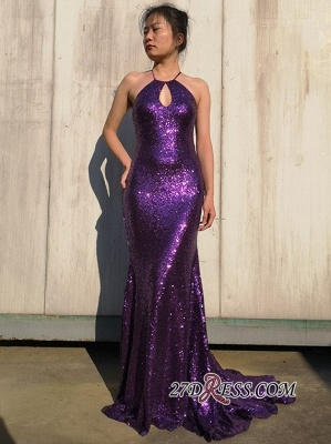 Shiny Sequins Halter Mermaid Prom Dresses | Spaghetti Straps Long Evening Dresses_4