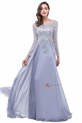 2020 Appliques Long-Sleeves Newest Beadings A-Line Prom Dress_2