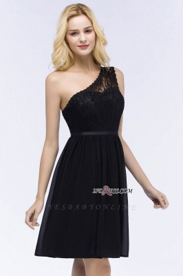 Homecoming Dresses Chiffon Top Short A-line Lace One-shoulder with Sash_3
