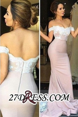 Blush Pink Off-the-Shoulder Lace Appliques Mermaid Prom Dresses_3