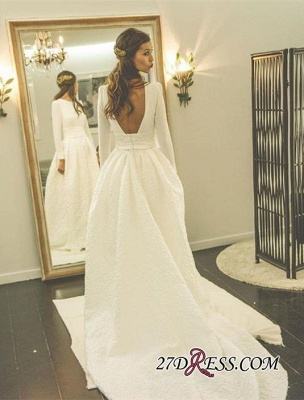 2020 Newest Long-Sleeve A-line Sweep-Train Jewel Wedding Dress_1